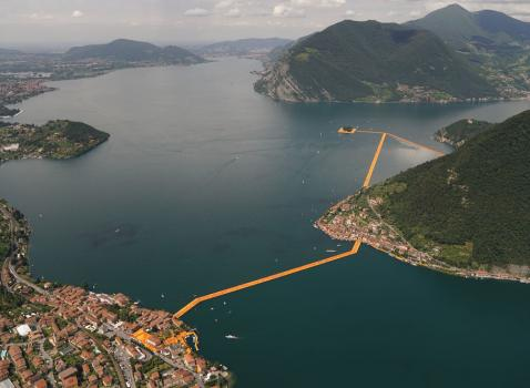 The Floating Piers project for lake Iseo ph. Wolfgang Volz